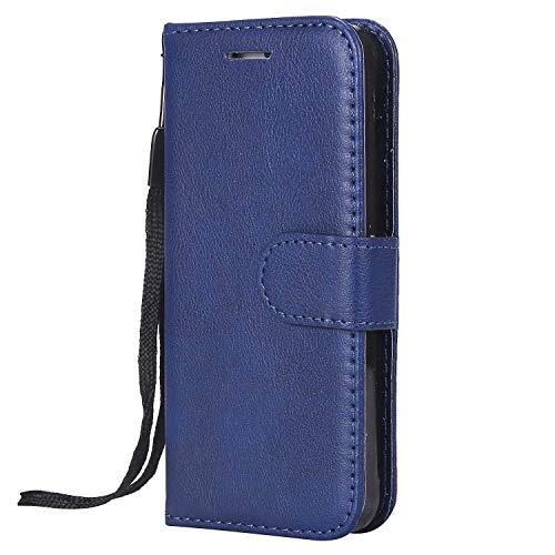 DENDICO Cover Galaxy S5, Premium Portafoglio PU Custodia in Pelle, Flip Libro TPU Bumper Caso per Samsung Galaxy S5 - Blu Navy