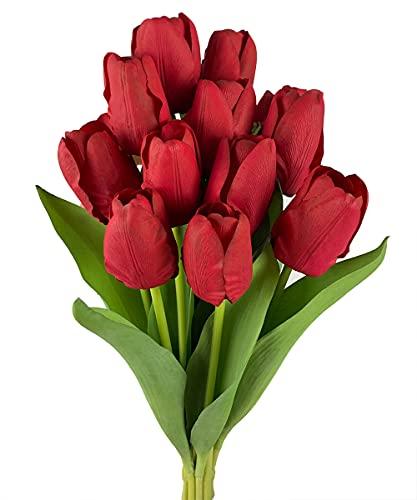 Roqueen 12 Piezas Tulipanes Artificiales Toque Real Tulipán Flores Artificiales Flores Falsa por Casa Boda Ramo Fiesta Habitación Arreglo Bricolaje Decoración - Rojo