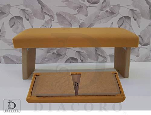 Banco de meditacion Plegable Acolchado Color Mostaza - Nuevo Modelo Mejorado de año 2020, Taburete de meditacion en Madera de DM Acabado Natural, con Formato de Cierre facil y bisagra Reforzada