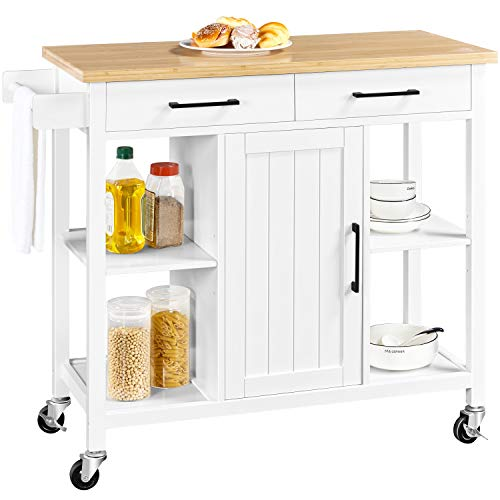 Yaheetech Kitchen Island on Lockable Wheels with 2 Storage Drawers & Bamboo Countertop, Kitchen Trolley Cart with Adjustable Shelves and Towel Bar, White
