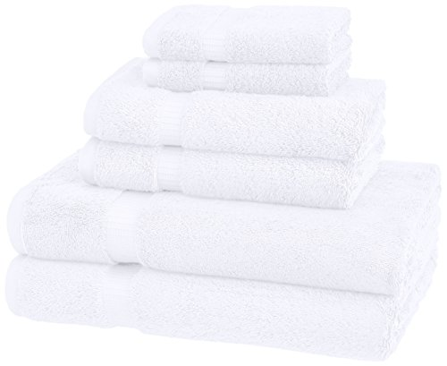 Pinzon Handtuchset aus Biobaumwoll-Mischgewebe, 6-teiliges Set, Weiß