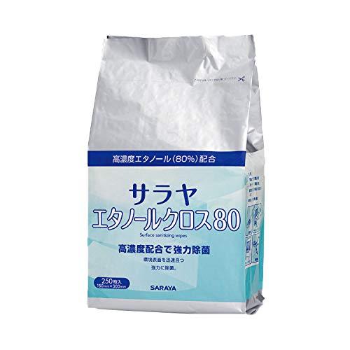 【サラヤ】 エタノールクロス80 詰替用 250枚入 除菌クロス 44161