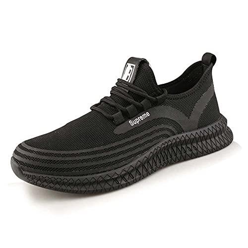 XIAORUI Zapato de Trabajo de Punta de Acero para Hombres Mujeres Entrena Zapatos punción a Prueba de Trabajo Zapatillas de Deporte Ligero Transpirable Industrial y construcción Zapato-Negro_40