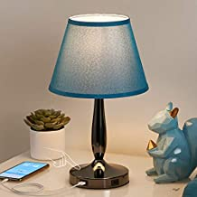 Touch Table Lamp for Bedroom with USB Ports, Turqiouse Blue Touch Bedside Lamp with 2 USB Charging Ports, 3 Way Dimmable Desk Lamp Nightstand Lamp for Living Room and Office (LED Bulb Included)