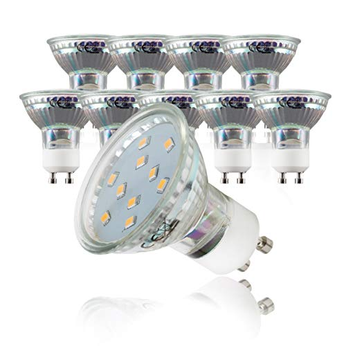 B.K.Licht 10er Set 3W LED Lampen, Leuchtmittel mit GU10 Fassung für Innenräume, Reflektorform, je 250 Lumen, 3000K für warmweisses Licht