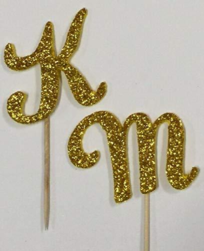 Gold Glitter Monogram Letter Initial Birthday Wedding Cupcake Topper Pick Favor (L (10 pack))