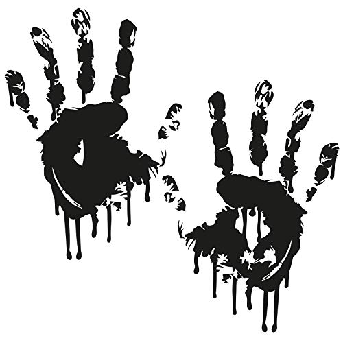Finest Folia 2 Blutige Hände je 22cm Blutspuren Aufkleber Auto Sticker Frontscheibenaufkleber ((K029) 2er Set Blutige Hände Schwarz)