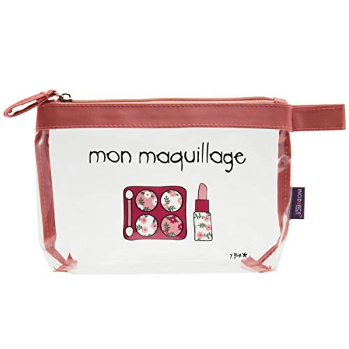 Incidence Paris 62187 Trousse à maquillage Krystal Mon maquillage Transparent et rose PVC et nylon Fermeture zip, 19 cm, Transparent
