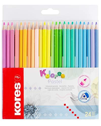Kores Kolores 93321 - Lápices de colores pastel (24 colores pastel) para papel blanco, oscuro y artesanal, 24 lápices pastel en caja para niños, diseño de artistas