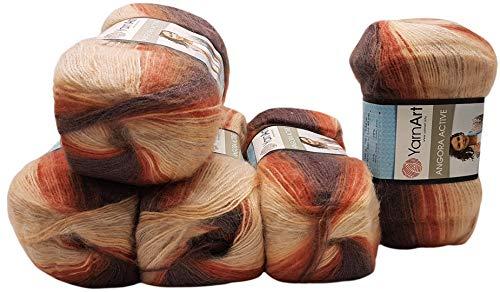 5 ovillos de 100 g de ovillo YarnArt Angora Active multicolor con degradado de color, 500 gramos de hilo para tejer con 25% de lana mohair (marrón albaricoque crema 851)