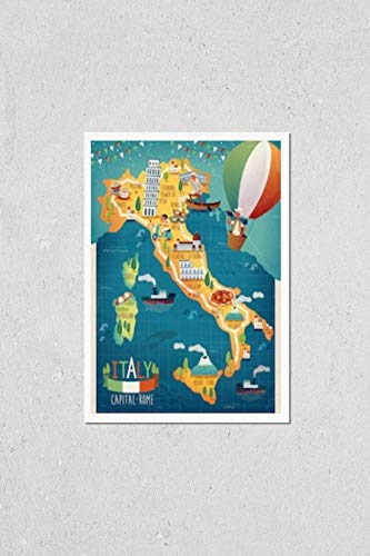 KwikMedia Poster of Colorful Italy Travel map with Attraction Symbols, Italian Words for Venice, Mount Vesuvius, Milan, Naples, Sardinia, Rome and French Words for Corsica All Over The Picture
