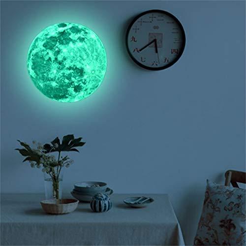 Creative Moon Adhesivo luminoso de, 30 cm, extraíble autoadhesivo de gran luna fluorescente que brilla en la oscuridad, para decoración del hogar, habitación infantil, sala de estar, dormitorio
