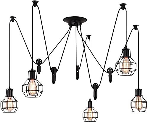 Industrial Pendant Lighting 5 Heads, Adjustable DIY Vintage Style Spider Semi Flush Mount Ceiling Light,Edison Rustic Chandelier,Hanging Lamp Fixture for Dining Room,Kitchen Bedroom,Farmhouse