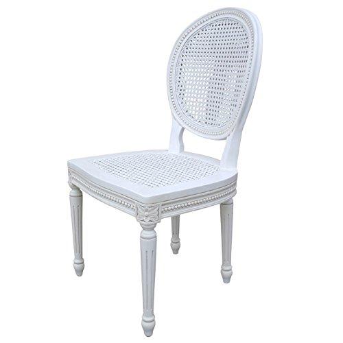 Sólido Madera país francés Chateau blanco ratán silla de comedor dormitorio madera de caoba nuev