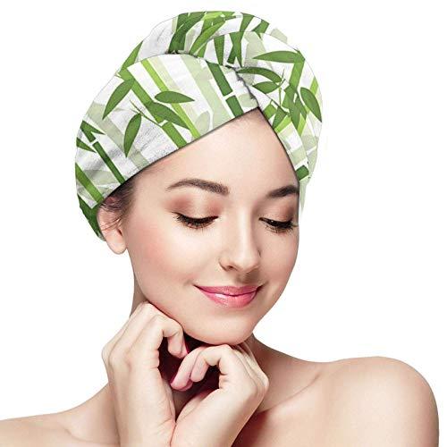 Toallas para secar el cabello, Gorros para el cabello de secado rápido con sombreado de bambú, Toallas de ducha suaves con botones, Sombrero para el cabello seco de salón para hombres
