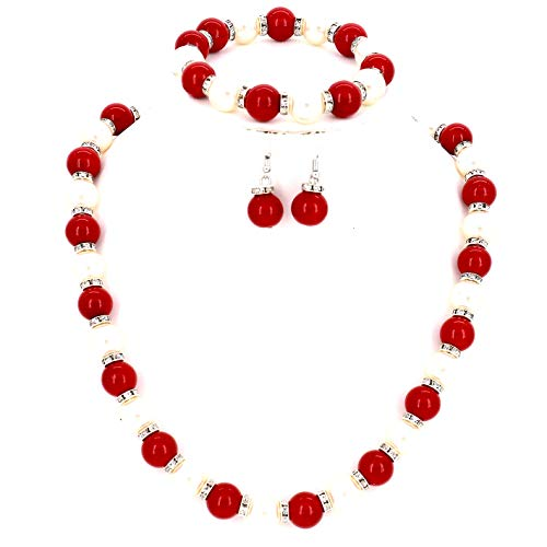 Fashion Jewelry Lady Simulated Pearl Beaded Chain Collar Party Show Girls Wedding Bridal Bridesmaid Women Necklace and Earrings Bracelet Set (Red White)