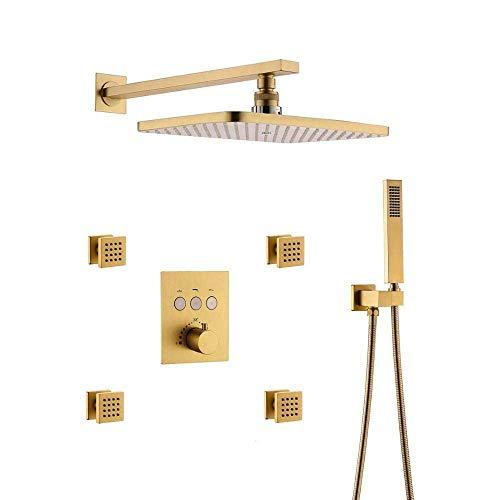 KANJJ-YU Grifo de ducha termostático de baño de oro cepillado de mano con chorro de cuerpo duradero (tamaño : grifos de ducha en la pared) cromado