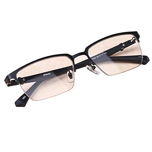 Leesbril voor mannen met halve rand, Block Blue-Ray, Tr90-bril, Progressive Multi-Coke Resin Lens, Reader,Black,+1