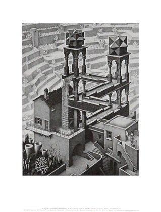 MC Escher Wasserfall Poster Kunstdruck Bild 35,5x28cm