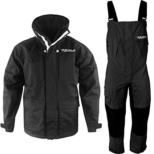 WindRider Pro Foul Weather Gear - Rain Suit - Jacket + Bibs - Breathable, Numerous Pockets, Mesh Lined for Comfort - For Fishing, Sailing, Outdoor Adventuring (Black, Medium)