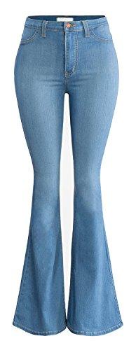 URBAN K Women's Classic High Waist FLARE & SKINNY Denim Jeans Bell Bottoms, Ubk22-medium Stone