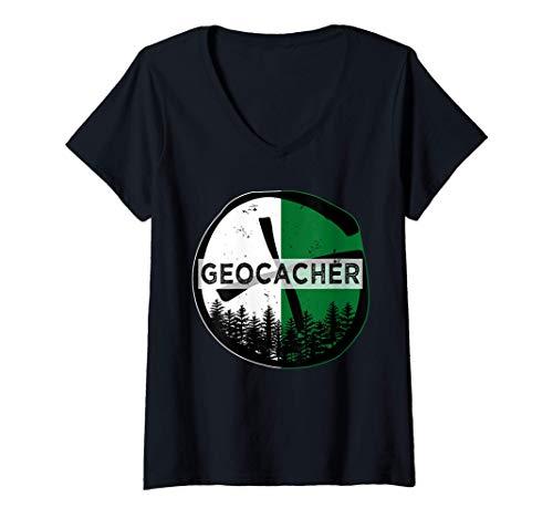 Mujer Regalo geocacher para verdaderos fanáticos del geocaching Camiseta Cuello V