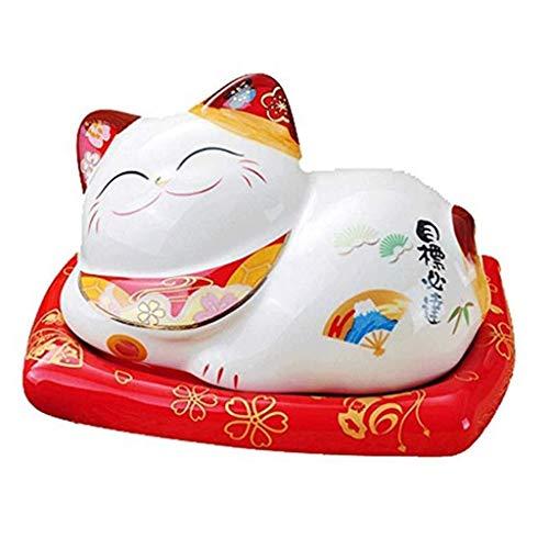 YANEN Glückliche Katze Keramik Aschenbecher, Desktop Dekorieren Handwerk, Raucher, Zigarette, Zigarre, Feuerhemmende 14 * 11 * 8 cm