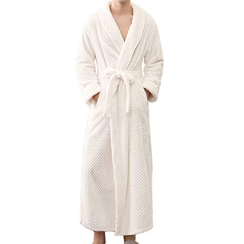 Quaan-Frau Kleider Damen Herren Winter Langen dicken Yukata langärmligen Morgenmantel Baumwolle Bademantel weich und super flauschig, Coral Fleece Saunamantel Bequem Bath-Robe(M-3XL