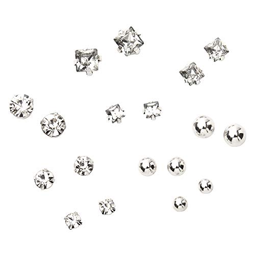 Claire's Silver Graduated Crystal Ball Magnetic Stud Earrings for Girls, Cute Jewelry, Faux Gemstones, 9 Pack