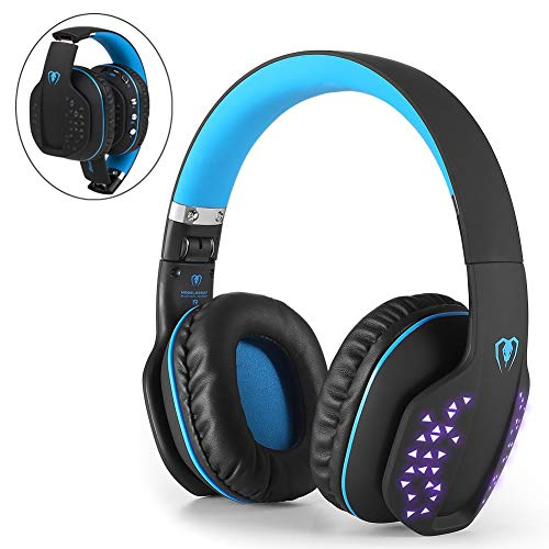 Beexcellent Bluetooth Gaming Headset Kopfhörer kabellos mit Mic, Bluetooth 4.1 Over-Ear-Kopfhörer, LED-Effekt, für PS4 PC Xbox One Laptop Tablet (Blau)