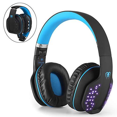 Beexcellent Bluetooth Gaming Headset Kopfhörer kabellos mit Mic, Bluetooth 4.1 Over-Ear-Kopfhörer, LED-Effekt, für PS4 PC Xbox One Laptop Tablet (Blau)