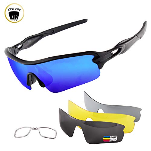 OULIQI Polarized Sports Sunglasses Cycling Anti-Fog Sun Glasses for Men Women with 4 Interchangeable Lenes for Running Baseball Golf Driving