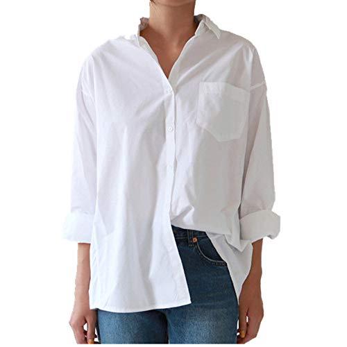 U/A Casual Mujeres Sueltas Camisas Cuello De Otoño Más Tamaño Blusa De Manga Larga Botones Camisa Blanca De Las Mujeres
