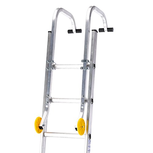 TB Davies 1400-000, Universal Roof Hook Ladder Kit, Ladder Accessory, Easily Convert Your Extension Ladder into a Roof Ladder, Includes Wheels for Use on Roofs, Initial Assembly Required