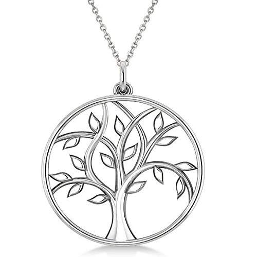 Collar colgante de oro blanco de 18 k de árbol de la vida, collar de árbol de damas de honor, collar de árbol delicado