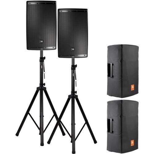 JBL EON 615 Aktive Lautsprecher + Stative + Schutzhüllen Set 1