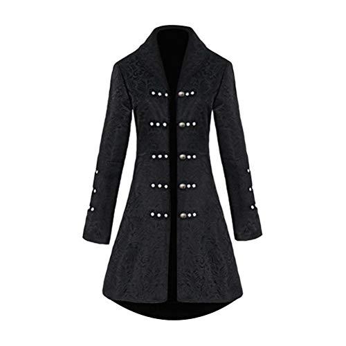 TAAMBAB Damen Mantel Jacke Gothic Gehrock Langarm Uniform Kostüm Mittelalter Viktorianische Kleidung Cosplay Party Halloween Kostüm