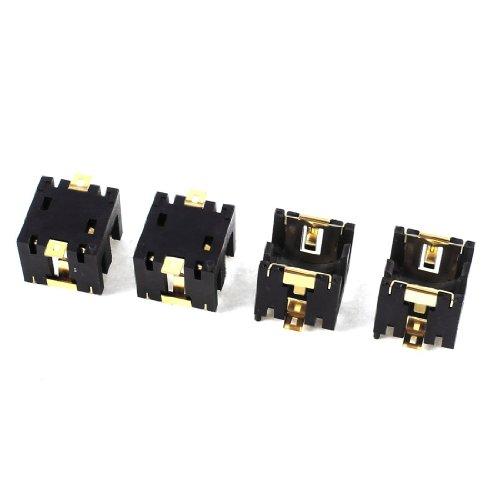 Kirmax 4pzs Negro Sostenedor de Enchufe de bateria celula Moneda Boton de plastico para 2 x AG13 / LR44