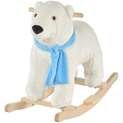 Qaba Kids Ride On Rocking Horse with Soft Polar Bear Body, Fun Roaring Sound, & Safety Handlebars/Footrests