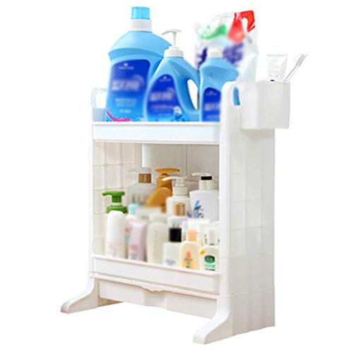 IUYJVR Soporte de Suelo Estante de baño Estante de Ducha Organizador Plástico 2 Niveles Blanco (Color: 45.5x23.5x52.8cm)