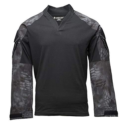Kryptek - Camiseta táctica de Manga Larga para Hombre, Hombre, Tops de Senderismo para Hombre, 19TACRLSBKT5, Negro/Typhon, L