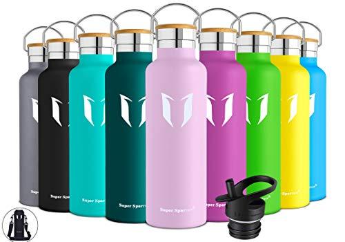 Super Sparrow Botella de agua aislada al vacío de acero inoxidable, diseño de pared doble, boca estándar - 350ml / 500ml / 620ml / 750ml / 1L - sin bpa Botellas - para correr, gimnasio, yoga,