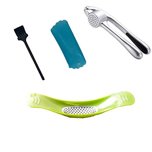 Arditto Prensa de ajos, 3 en 1, rebanada de ajo y ajo con cepillo limpiador de ajo y pelador de tubo de silicona, fácil de apretar, a prueba de óxido, apto para lavavajillas,...