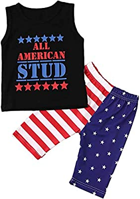 Calsunbaby 4th of July Outfit Baby Girl USA Flag Stripe&Stars Ruffle Sleeve T-Shirt Demin Shorts Outfit with Headband (Stud, 12-18 Months)