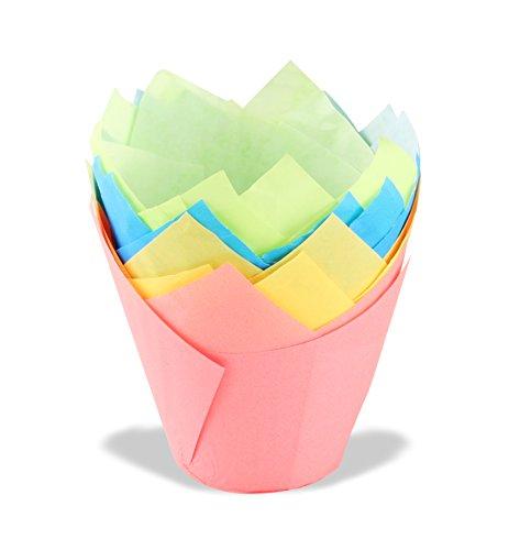 Dr. Oetker Tulips Papier-Backförmchen, bunte Muffinförmchen aus Papier, Förmchen für Cupcakes, Muffins und Pudding - hitzebeständig bis 220°C (Farbe: Rosa, Türkis, Grün, Gelb), Menge: 20 Stück