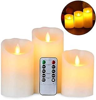 Gufra LED キャンドルライト ロウソク 本物の炎のようにゆらめく 専用リモコン付き 自動消灯タイマー ゆらゆら揺れる 3点セット 明るさ調整可能