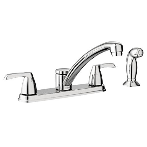 Moen 87046 Adler Two Low Arc Kitchen Faucet with Optional Knob or Lever Handles, Chrome Missouri