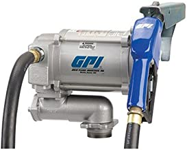 GPI 133200-2, M-3120-AL High Flow Cast Iron Fuel Transfer Pump, 20 GPM, 115-VAC, 0.75-Inch X 12-Foot Hose, Automatic Nozzle, Weight Centering Base