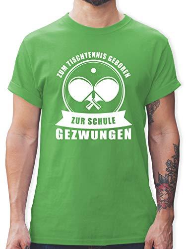 Sonstige Sportarten - Zum Tischtennis geboren. Zur Schule gezwungen - S - Grün - Tischtennis t-Shirt - L190 - Tshirt Herren und Männer T-Shirts