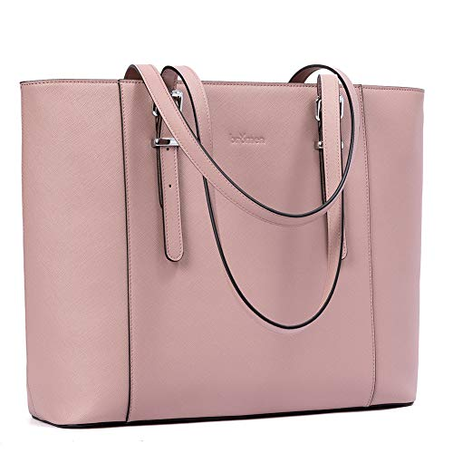 BROMEN Leather Laptop Bag for Women 15.6 inch Computer Office Briefcase Handbag Shoulder Work Tote with Padded Compartment Pink